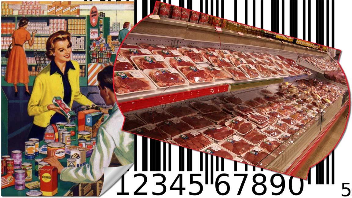Collage mit einem Retro-Werbeplakat, einem Barcode und einem Edikett mit einer Discounter-Fleischtheke