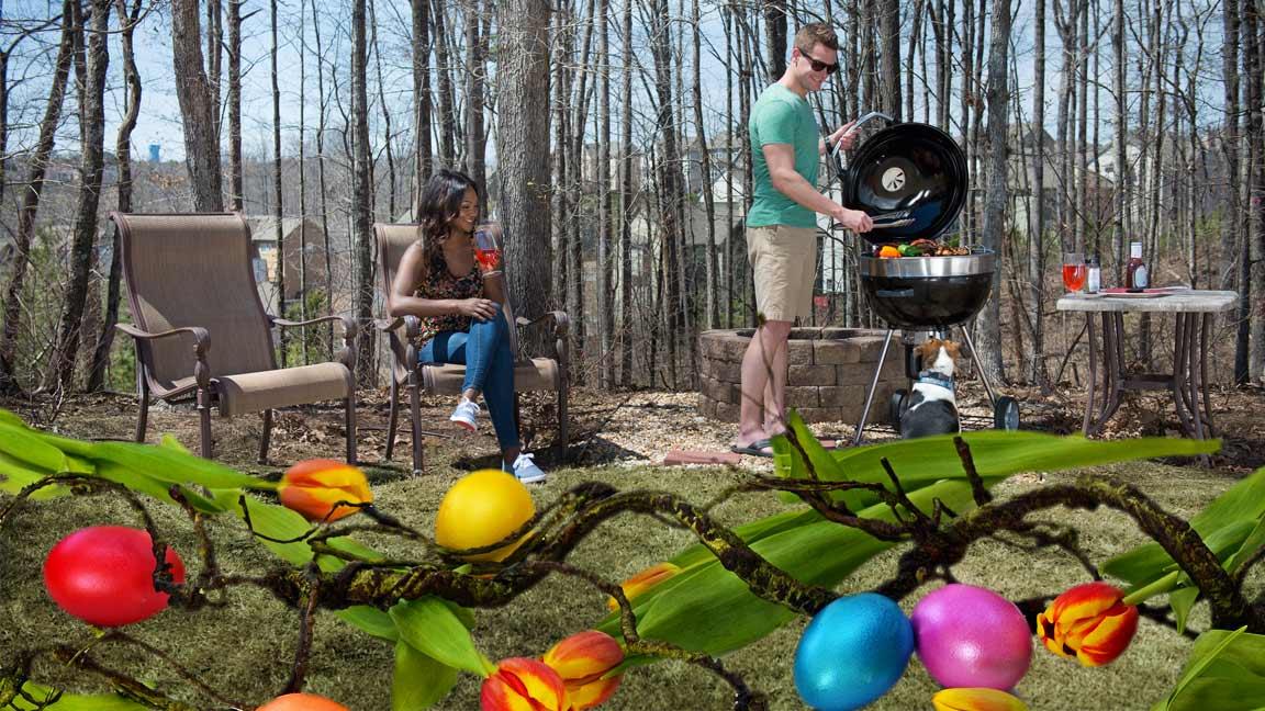 Ambientebild grillen im Frühling, österlich verziert