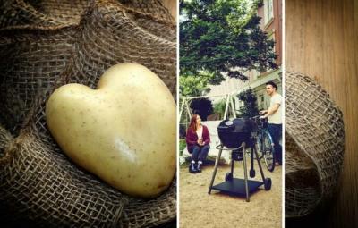 Collage Kartoffel in Herzform und Grillambiente im Hinterhof