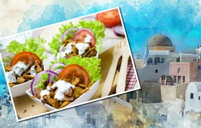 Aquarell einer griechischen Kleinstadt mit einer, mit einem Gyrosgericht versehenen Postkarte