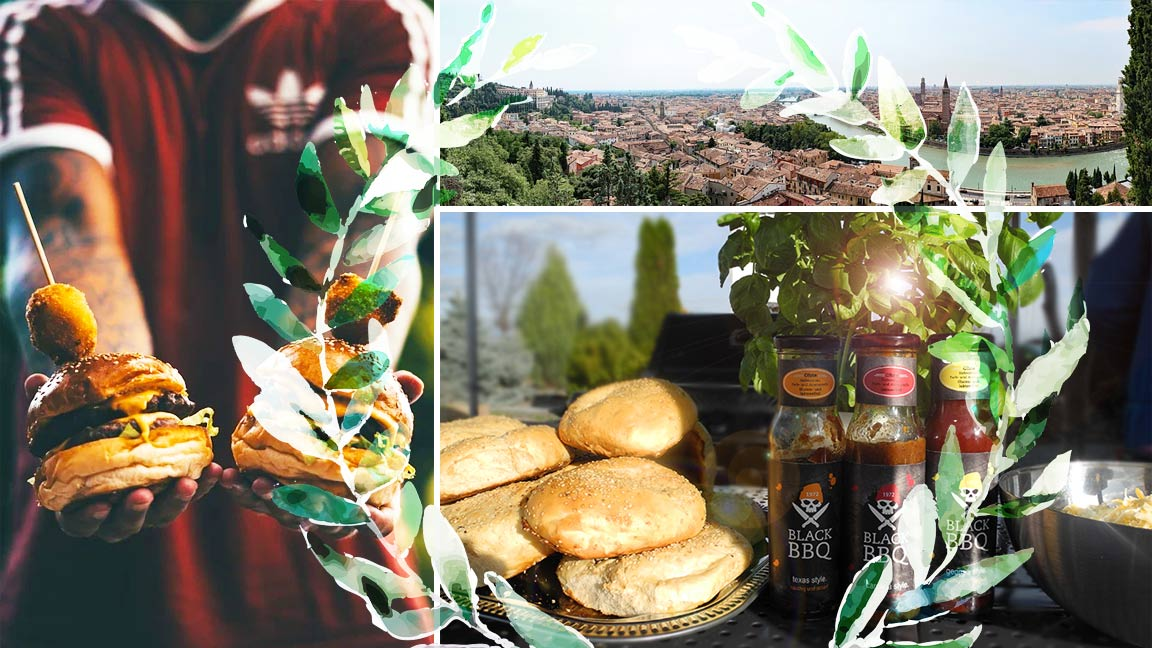 Collage mit einem Fußballfan der Cheeseburger hält, einem Panorama der Stadt Verona und den fertig gebackenen Hamburgerbrötchen
