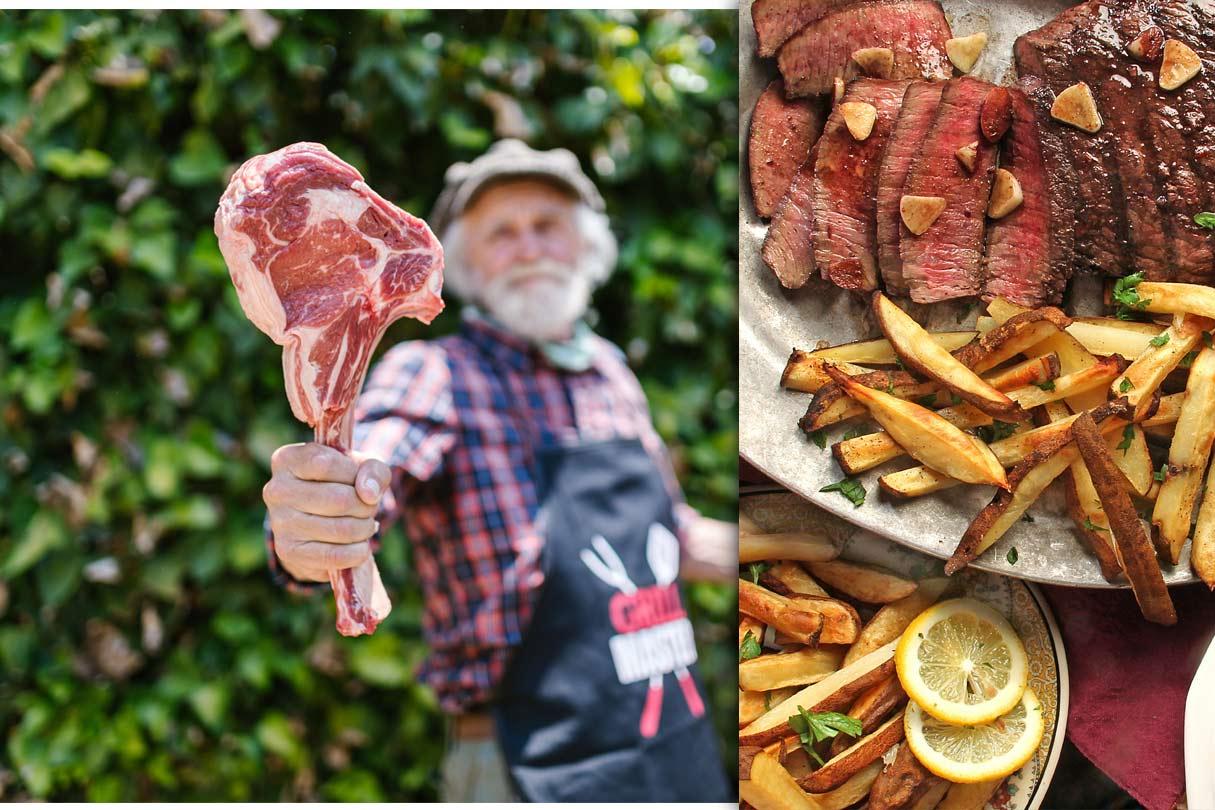 Steak vor dem Grillen und nach dem Grillen