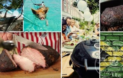 Collage verschiedener Bilder zum Thema Jerk Pork