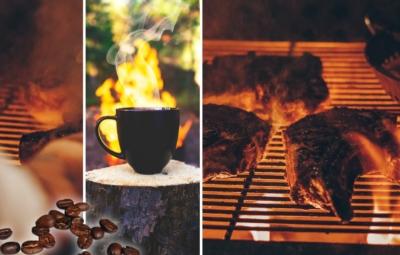 Collage grillende Steaks und Kaffeetasse vor Lagerfeuer