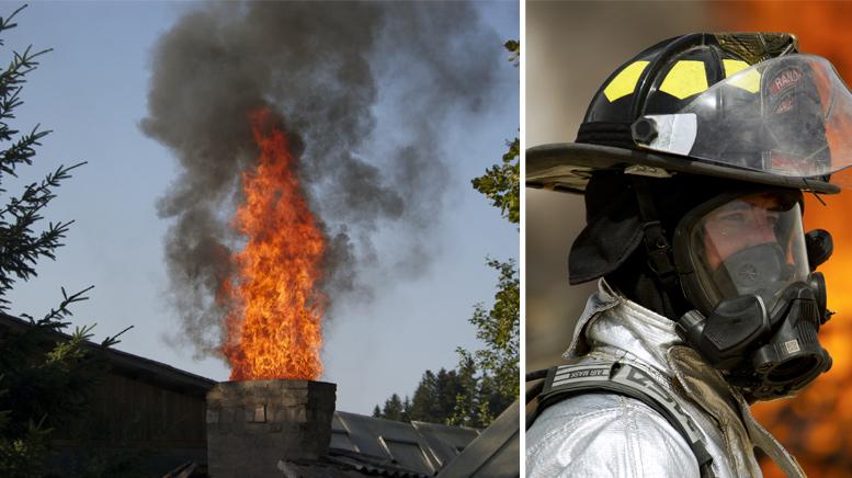 Collage Stichflamme aus Schornstein und Feuerwehrmann in voller Montur