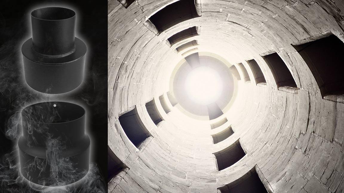 Bild mit Blick in den Schornstein und 2 Ofenrohrmodifizierungsobjekte