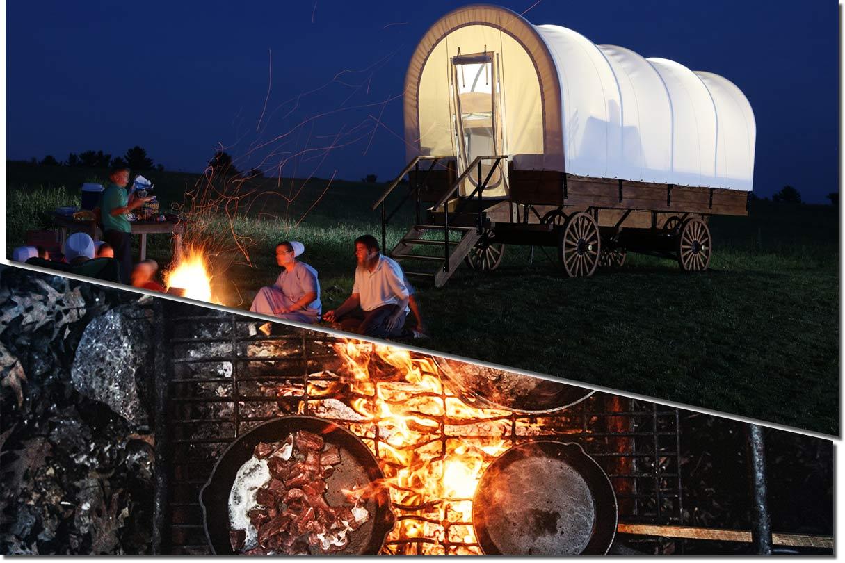 Collage Planwagen, Lagerfeuer und gusseiserne Pfannen