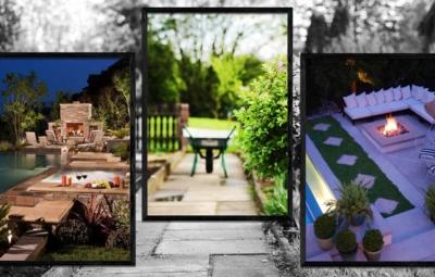 Fotocollage mit Schrebergartenszene im Hintergrund, 2 geramte Ambientebilder mit Outdoor-Feuer-Beispielen und 1 gerahmtes Bild einer Schubkarre in der Mitte des Bildes
