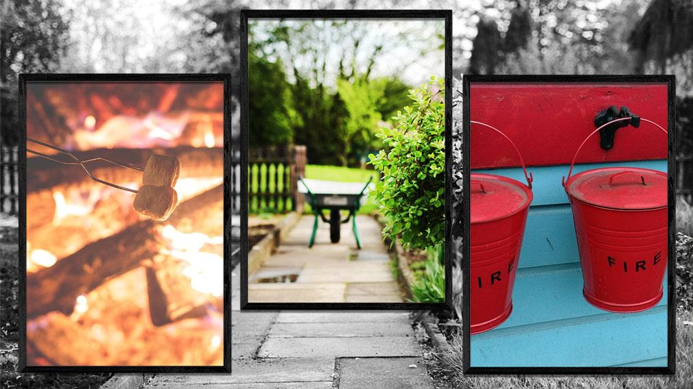 Bildsammlung Marshmallow über Feuer, Schubkarre im Garten und Löscheimer