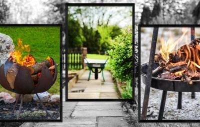 Bildsammlung befeuerte Feuerschalen und Schubkarre im Garten