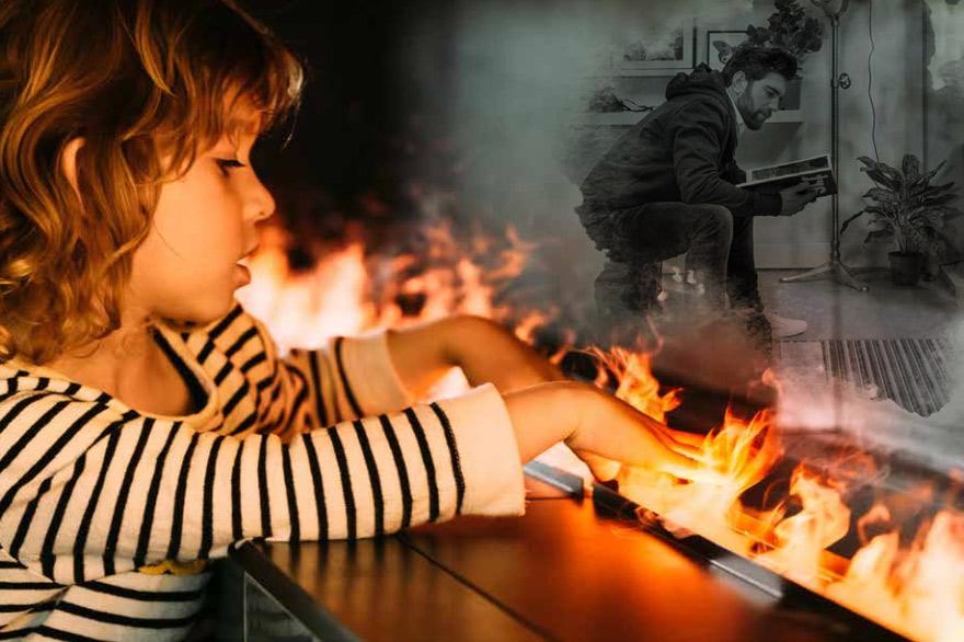 Mysterium Elektrokamin - Mädchen fasst in Flamme