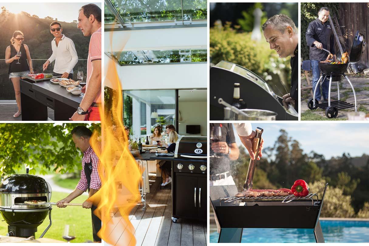 Collage Szenen direcktes und indirektes Grillen