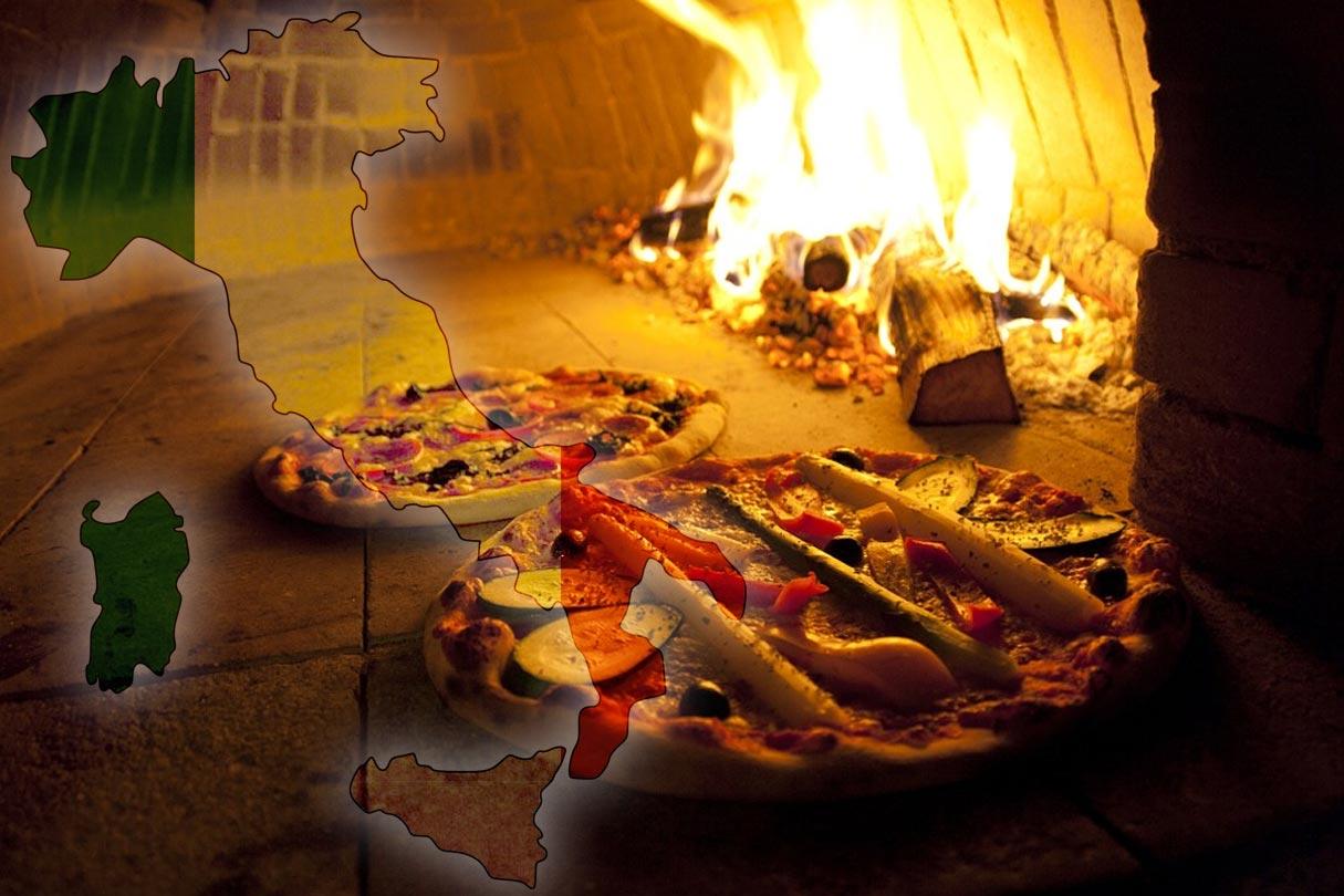 Pizzen im traditionellen Holzbackofen