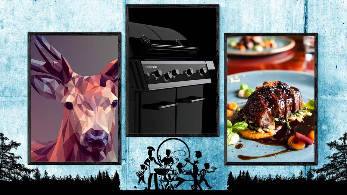 Collage mit 3 gerahmten Bildern von einem Rehbock, einem Outdoorchef Gasgrill und einem servierten Rehbraten