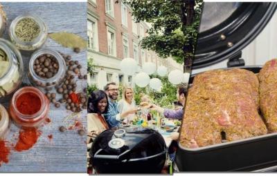 Bildfolge aus Gewürzen, einem Grillabend unter Freunden und dem gerubten Nackenbraten auf dem Grill