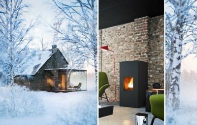 Haus im Winter und Nahaufbahme eines Pelletofens, angeschlossen an einem gemauerten Schornsteins