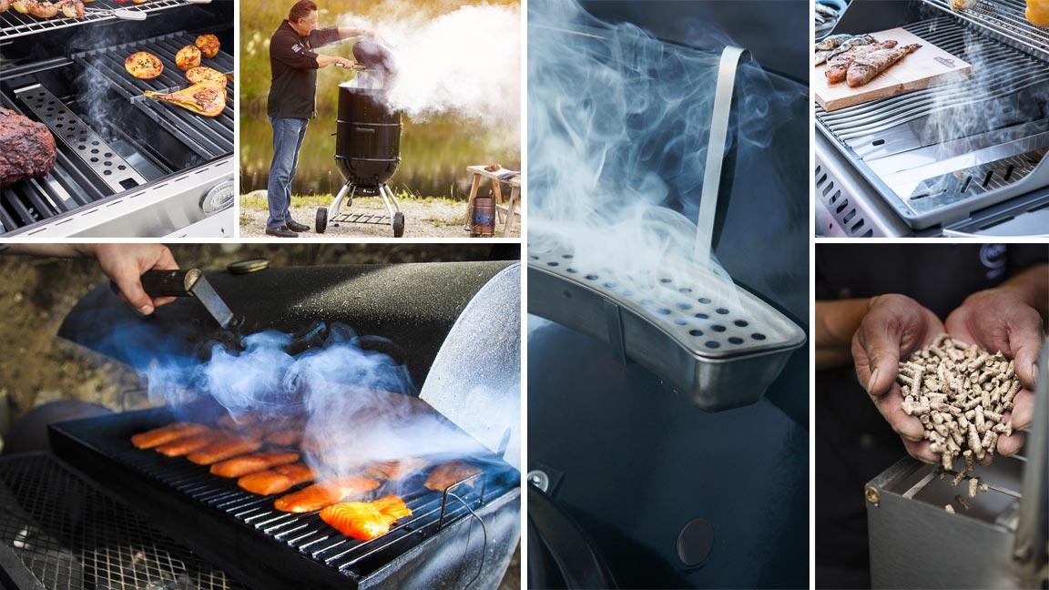 Collage aus verschiedenen Detail- und Ambientebildern des Smokens