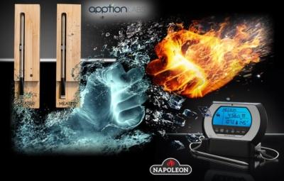 Bild mit 2 Fäusten aus Wasser und Feuer, kombiniert mit dem Meater und dem Napoleon Thermometer