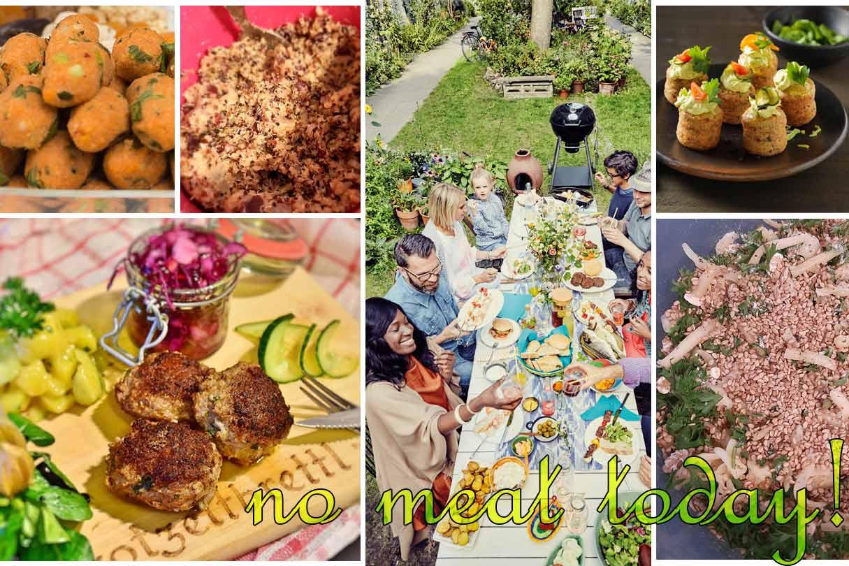 Collage aus verschiedenen vegetarischen Frikadellen und Zubereitungsstadien