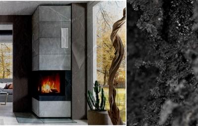 Bildcollage mit einem versteinerten Ambientebild eines Kaminofens und einer Nahaufnahme von Glanzruß