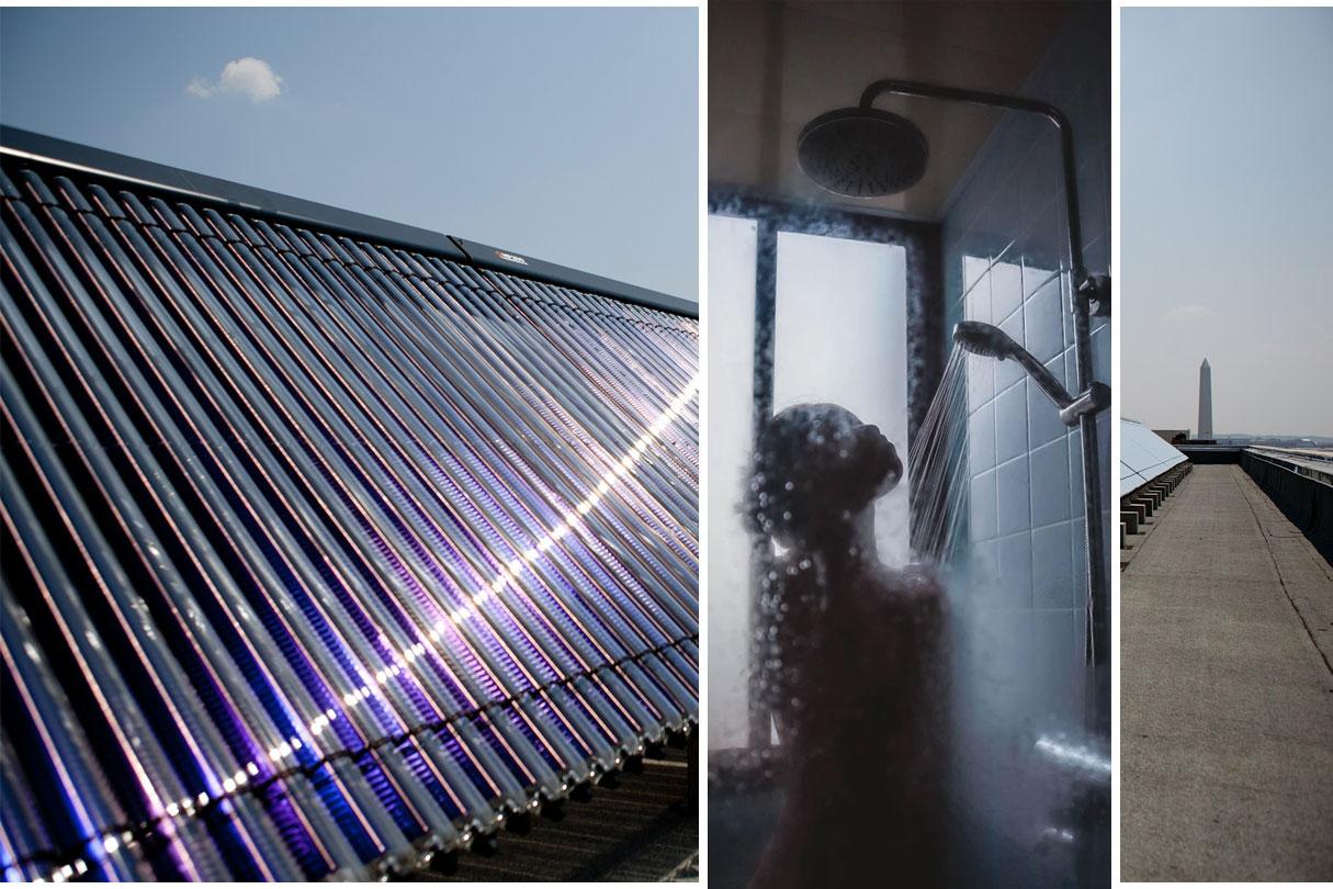 Solarthermie auf Dach erzeugt heiße Dusche