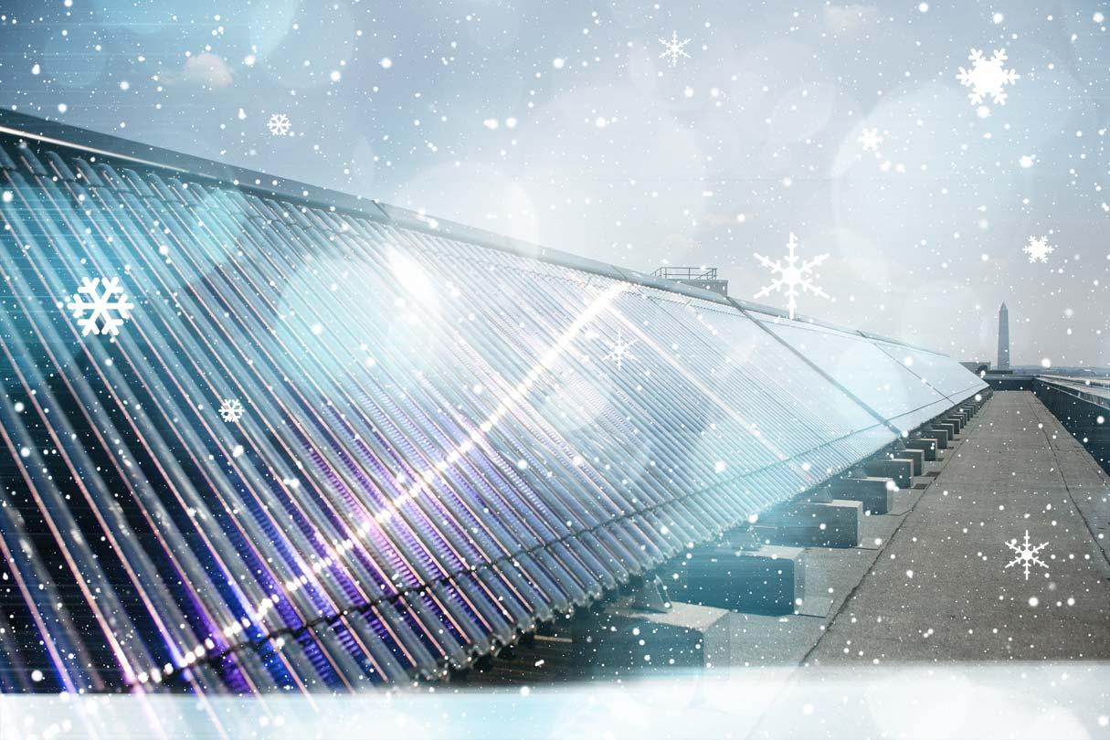 Solarthermie und Schneefall
