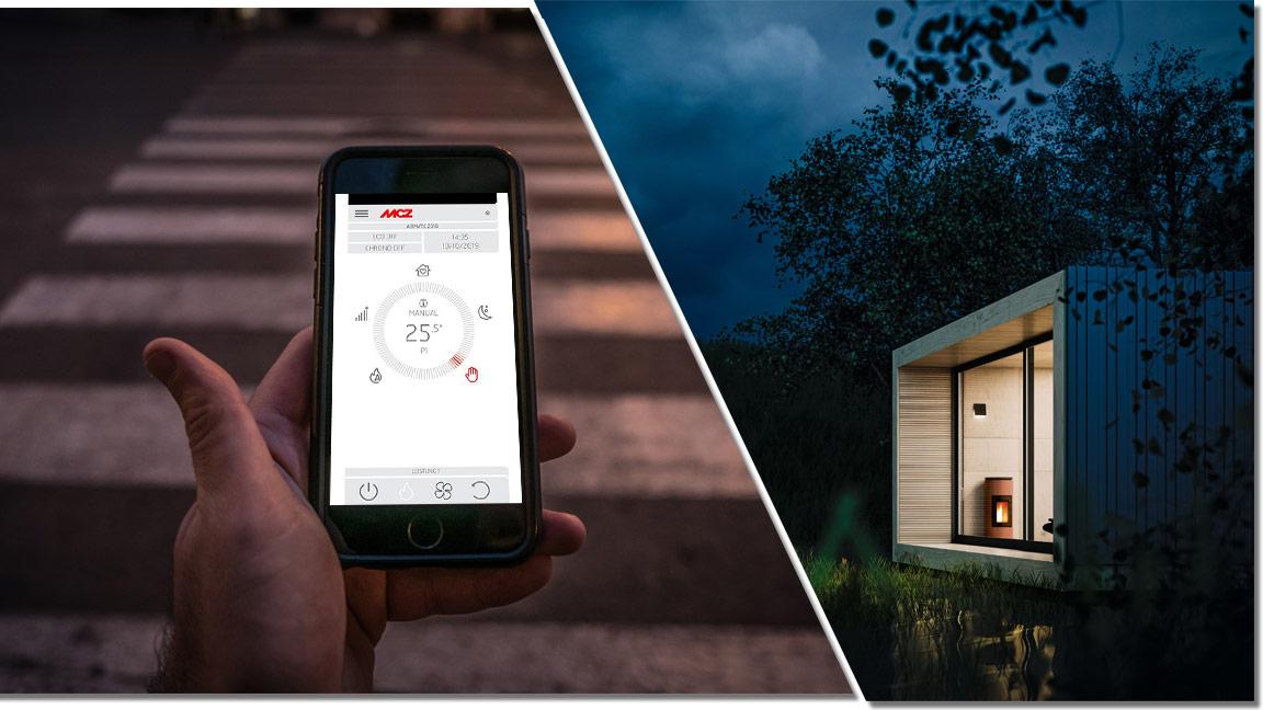 Collage mit einer männlichen Hand welche die MCZ Maestro App bedient und einem MCZ angefeuerten Pelletofen in einem Haus am See