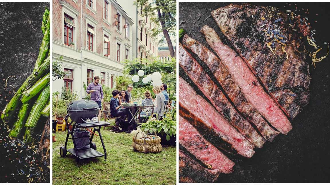 Collage Grillparty im Hinterhof und perfektes Steak