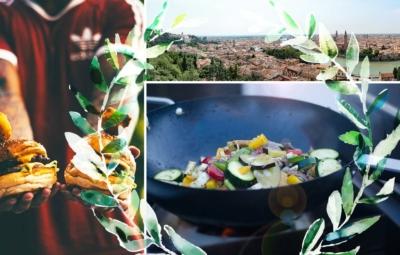 Collage mit einem Fußballfan der Cheeseburger hält, einem Panorama der Stadt Verona und dem im Wok bratenen Gemüse