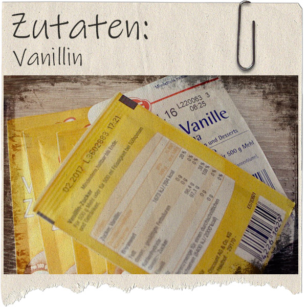 rausgerissenes Blatt Papier mit Foto einer rückseitigen Vanillinverpackung