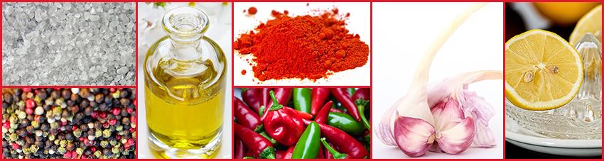 Zutaten der Chili-Paprika-Marinade