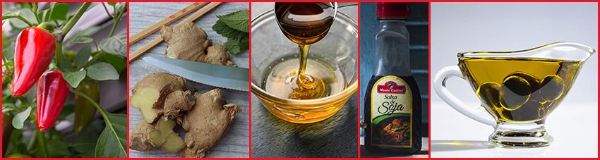 Für die asiatische Honig-Ingwer-Marinade werden lediglich fünf Zutaten benötigt
