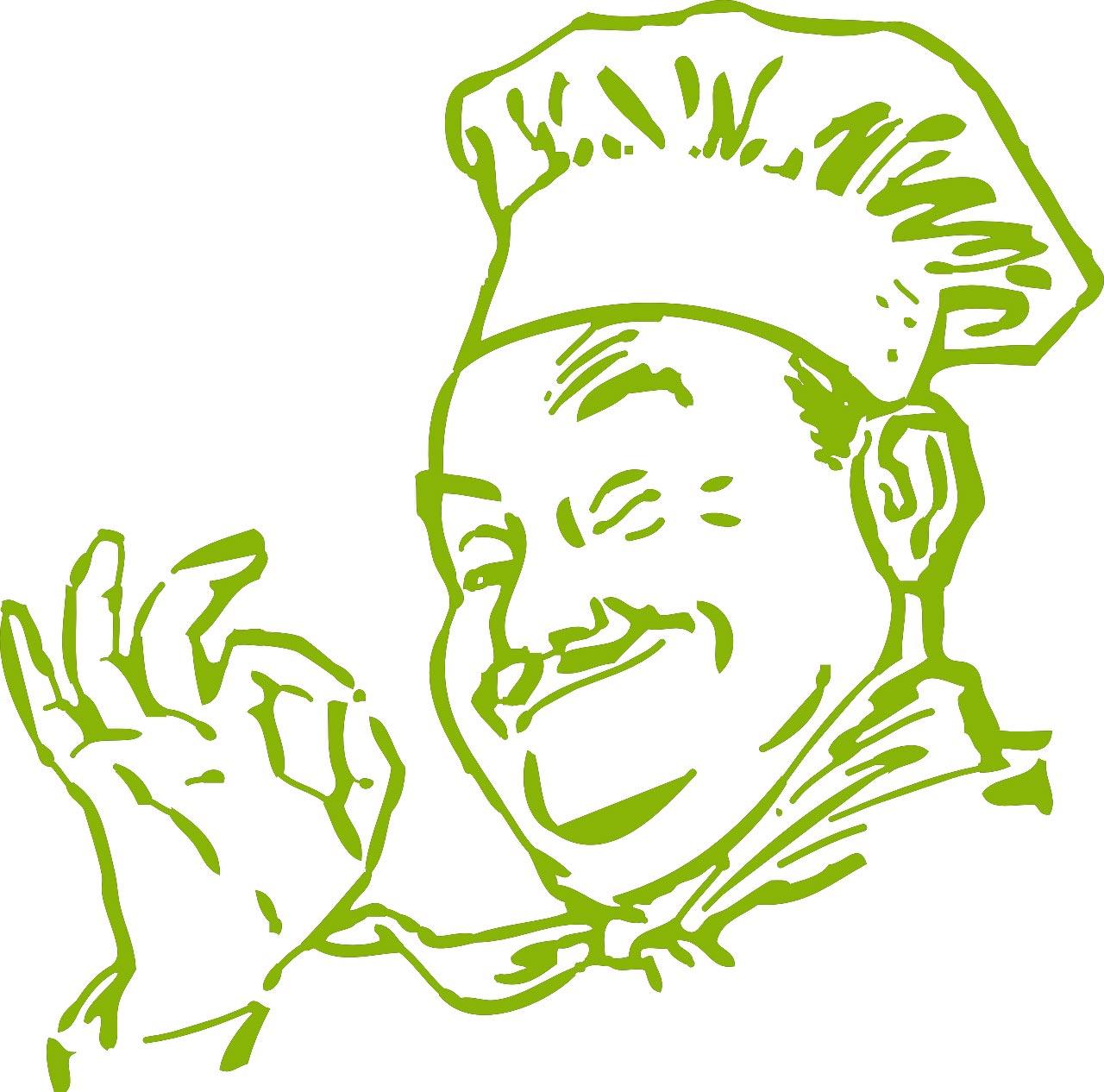 illustrierter Küchenchef in grün