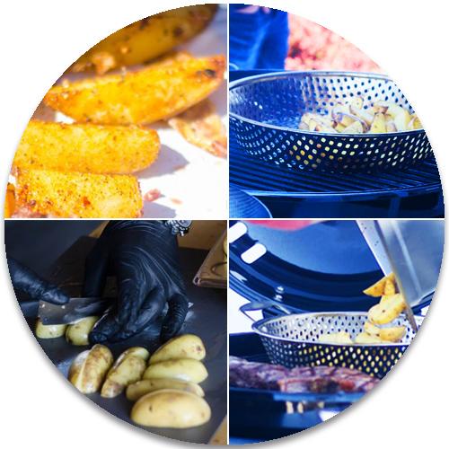 Kartoffelecken sind eine leckere Beilage zu gegrillten Rippchen