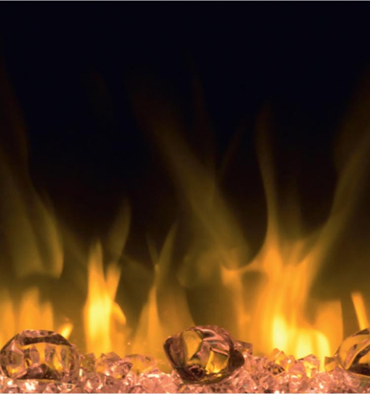 Bei der Opti-Flame-technik, kann das Feuerbett individuell dem Geschmack angepasst werden