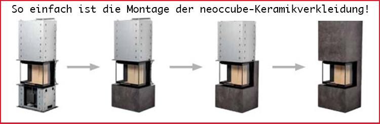 Die Montage eines neocube kaminofens ist denkbar einfach. Die Keramikverkleidung wird einfach in dafür vorgesehene Öffnungen eingehängt.