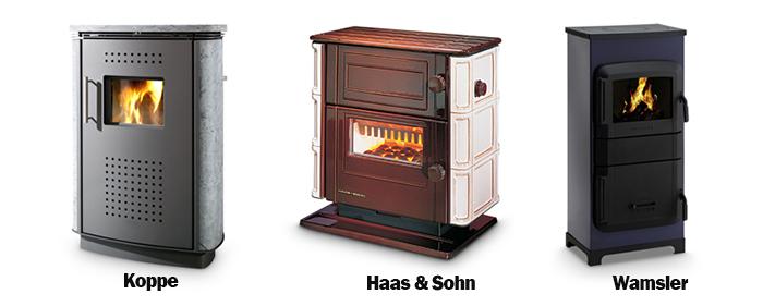 Beispiele Dauerbrandöfen der Hersteller Koppe, Haas und Sohn als auch Wamsler