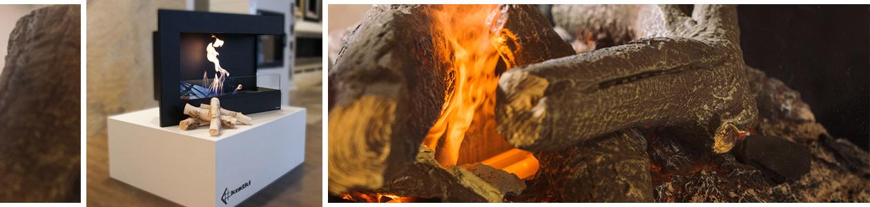 Ethanolkamin und Nahaufnahme brennender Keramikscheite