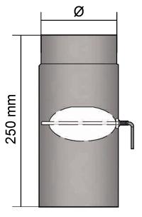 Ofenrohr Drosselklappe 130 x 250 mm Schwarz Rohr Rauchrohr Kaminrohr