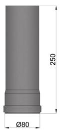 Pelletrohr 80 x 250 mm Schwarz Pelletofen Rohr Ofenrohr Pellet Rauchrohr