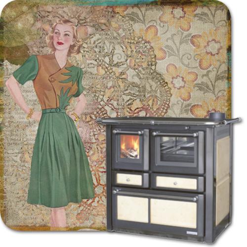 Retro Pinup und moderner Küchenofen