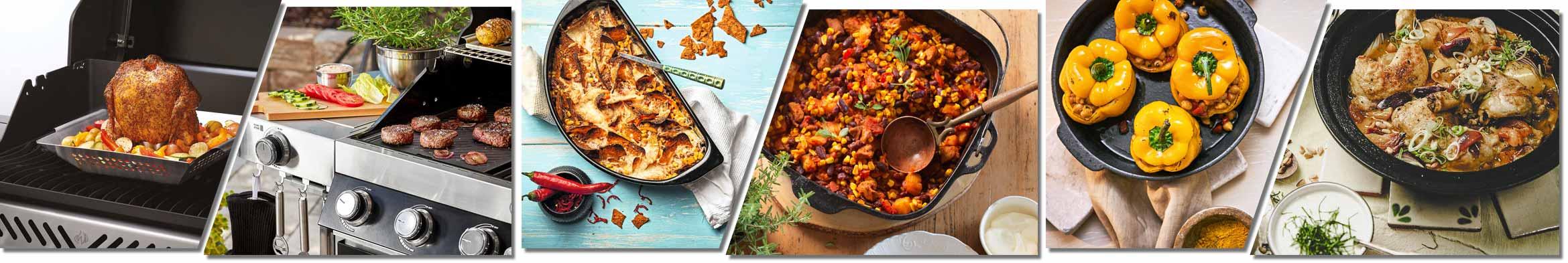 Bildfolge verschiedener auf dem Grill zubereiteter Gerichte