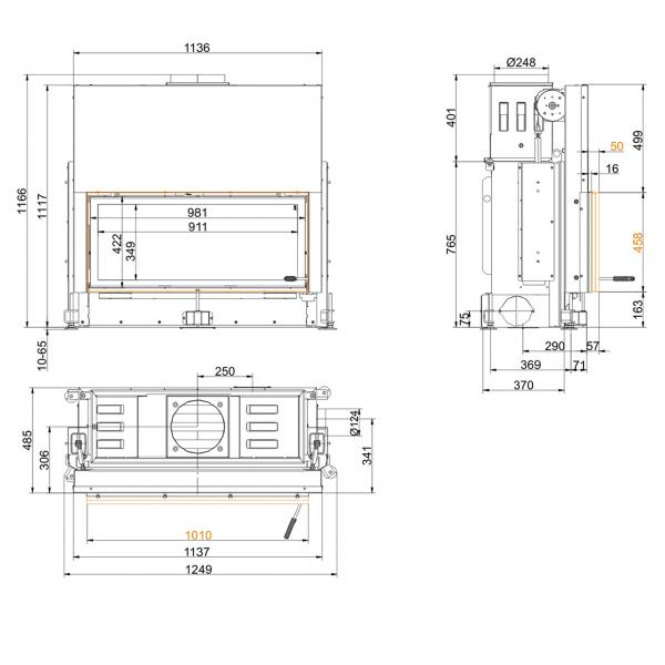Kamineinsatz Brunner Architektur 45/101 Schiebetür 14 kW