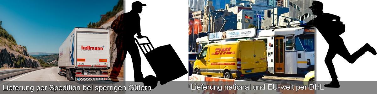 Lieferung mit Spedition oder mit DHL