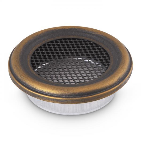 Kamin Lüftungsgitter rund 200 mm Ofen Gitter Gold Patina