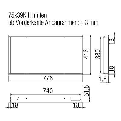 Kamineinsatz Austroflamm 75x39 S II 2.0 Designrahmen