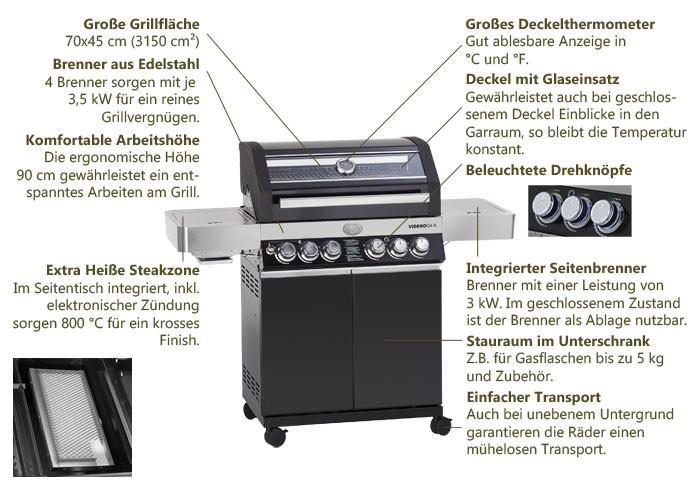 Gasgrill RÖSLE BBQ-Station Videro G4-S Details