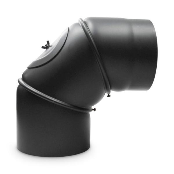 Ofenrohr Bogen verstellbar mit Tür DN 150 mm 90 Grad Schwarz