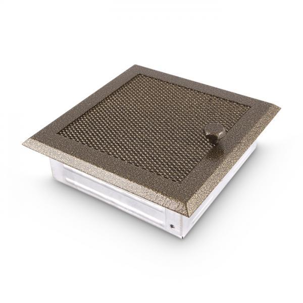 Warmluftgitter 19x19 cm Kamin Lüftungsgitter Ofen Gitter Gold Antik
