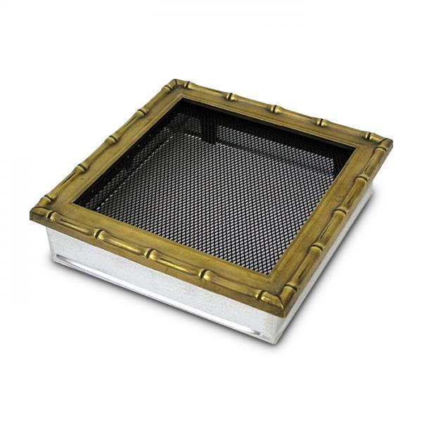 Kaltluftgitter 22x22 cm Altgold Kamin Lüftungsgitter